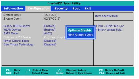 Obrazovka nastavení BIOS na IdeaPadu