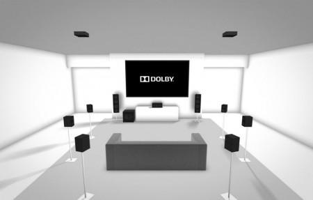 Domácí Dolby Atmos sestava 7.1.2 s reproduktory na stropě