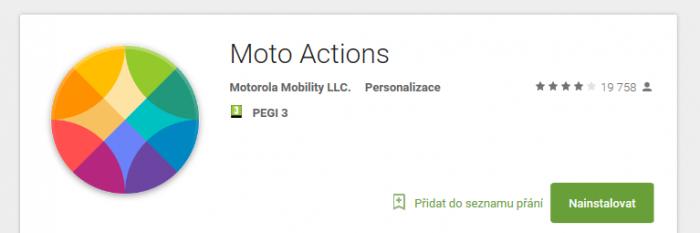 Průvodce Moto Actions – ovládání telefonu pohybem zápěstí
