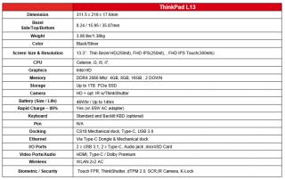 ThinkPad L13 specs