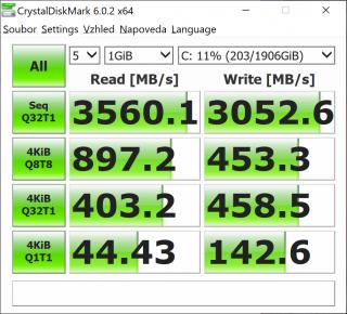 Crystal Disk Mark, Lenovo Yoga C940-14IIL.